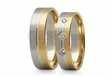 ST 227 Dwukolorowe obrączki ślubne z białego i żółtego złota próby 585 - na d...