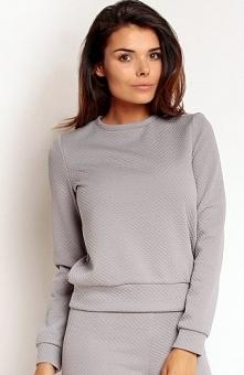 Nommo NA80 bluza szara Modna bluza damska, wykonana z pikowanego materiału