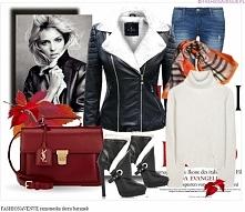 Stylizacja kurtka damska ramoneska skóra baranekz kołnierz zamek #103 fashion...