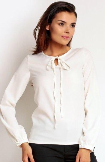 Nommo NA88 bluzka ecru Elegancka bluzka, wykonana z gładkiej dzianiny, rękawy zakończone ściągaczem