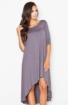 Figl M392 sukienka ciemnoszara Niebanalna sukienka, komfortowy fason, luźny krój