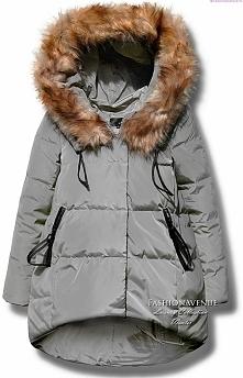 kurtka damska parka ocieplana asymetryczna futerko zamek napy zimowa model #104 fashionavenue.pl