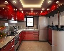 Czerwona kuchni z dobrym oświetleniem