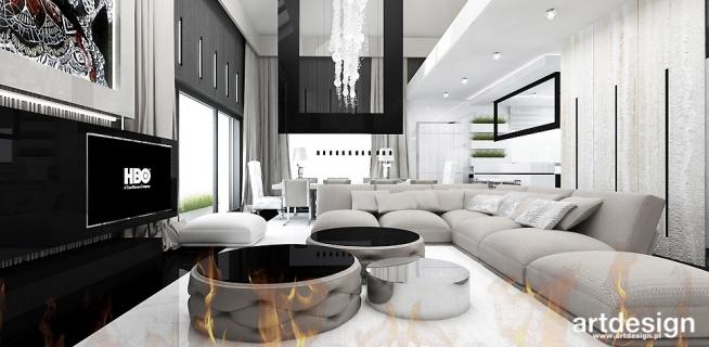 salon z biokominkiem | ACCELERATED ARCHITECTURE