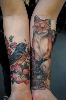 tatuaże damskie lis i ptak