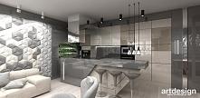kuchnia otwarta na salon - projekt apartamentu | FIRST IMPRESSIONS