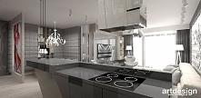 kuchnia z wyspą - projekt apartamentu   FIRST IMPRESSIONS