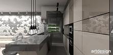 nowoczesna kuchnia z wyspą - projekt apartamentu   FIRST IMPRESSIONS
