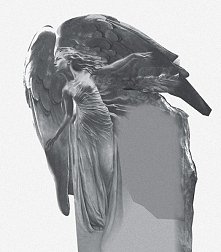 Rzeźba nagrobna w kamieniu. Projekt rzeźby. Anioł. Autor: Rafał Namiota, Lublin.