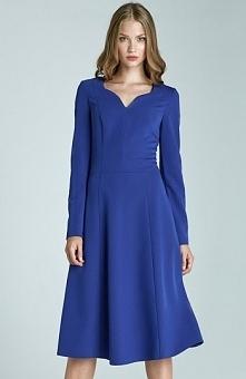 Nife S66 sukienka niebieska Elegancka sukienka, wykonana z jednolitego materi...