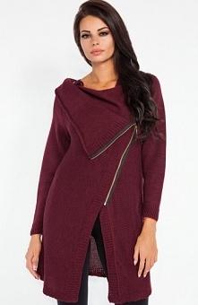 Fobya F151 sweter bordowy Świetny kardigan damski, dłuższy fason, wykonany z ...