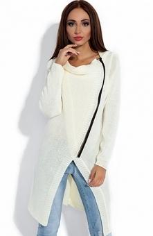 Fobya F151 sweter ecru Świetny kardigan damski, dłuższy fason, wykonany z miękkiej przędzy