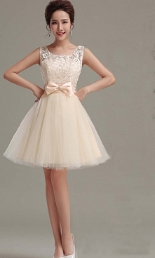 Cute Beige Retro Bow Knot Short Prom Gown KSP348