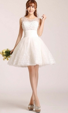 Cute White Short Lace Prom ...