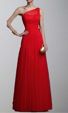 Red One Shoulder Aline Tull...