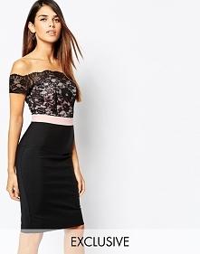 Elegancka sukienka z koronką, czarna