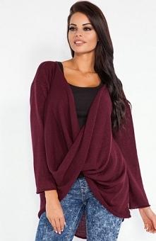 Fobya F208 sweter bordowy Świetny sweter, długi rękaw, wykonany z miękkiej sw...