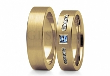 ST 217 Wspaniałe obrączki ślubne z 14-karatowego złota z błękitną cyrkonią i ...