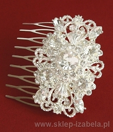 Grzebień z kryształkami do fryzury ślubnej