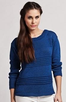 MKM Tatiana sweter chabrowy Stylowy sweter, delikatna plecionka z przodu, prz...