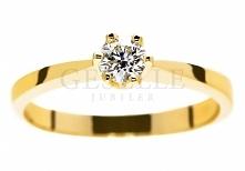 WZ 541 Wyjątkowy pierścionek zaręczynowy w rozmiarze 11 ze złota pr. 585 z certyfikowanym brylantem o masie 0,26 ct i pięknej barwie D - GRAWER W PREZENCIE - kolekcja GESELLE Ju...