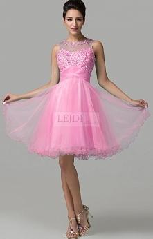 Tiulowa sukienka z kryształkami, różowa