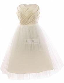 Tiulowa sukienka wieczorowa na sylwestra, ecru