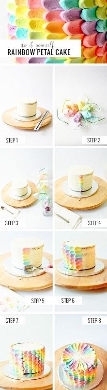 Tęczowy tort. Krem z barwni...