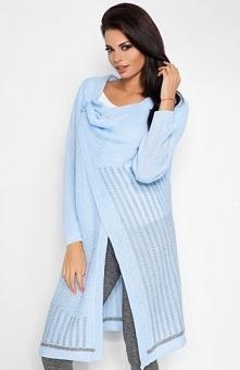 Fobya F203 sweter błękitny Przepiękny kardigan, dłuższy fason, dwukolorowy