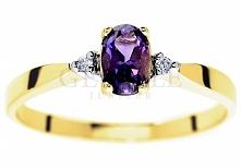 WZ 315 Oryginalny pierścionek zaręczynowy w stylu retro z ametystem i brylantami - GRAWER W PREZENCIE - kolekcja GESELLE Jubiler