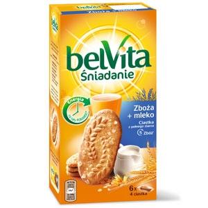 Ciastka BelVita Śniadanie, Zboża + mleko, Mondalez