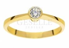 WZ 532A Nowoczesny i klasyczny - złoty pierścionek z brylantem 0,16 ct - GRAWER W PREZENCIE - kolekcja zaręczynowa GESELLE Jubiler