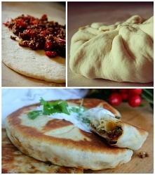 Gruzińskie chaczapuri Składniki na zaczyn: 3 łyżki mąki pszennej chlebowej ty...