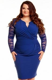 Kartes moda KM56KPS sukienka niebieska Elegancka sukienka, kopertowy dekolt, ...