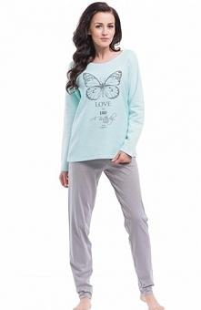 Dobranocka PM.8041 piżama Wygodna piżama damska, ciepła bluza z długim rękawe...