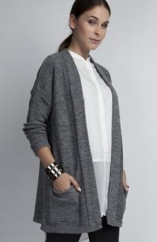 MKM SWE030 sweter szary Piękny a zarazem elegancki, prosty fason, niezapinany