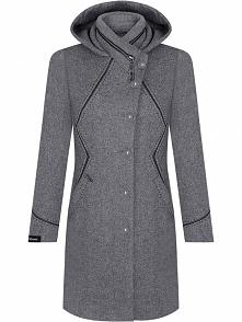 Elegancki wełniany płaszcz damski, na guziki, szary