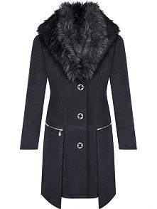 Wełniany płaszcz damski z odpinanym futerkiem