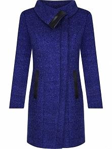 Elegancki płaszcz z wełny z ekoskórą, chabrowy