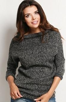 Awama A121 sweter grafitowy Ciepły sweter, wywijany golf, rękaw 3/4
