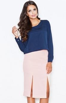 Figl M399 spódnica ecru Elegancka spódnica, z przodu niebanalne rozcięcia, do...