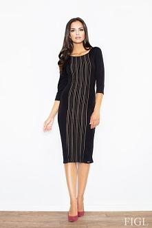 Elegancka sukienka za kolano, czarna
