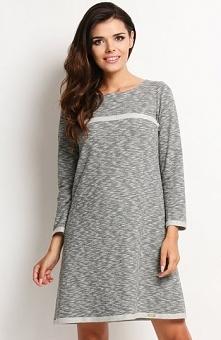 Awama A120 sukienka szara Modna sukienka, wykonana z miękkiej bawełny, długi ...