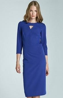 Nife S65 sukienka niebieska Kobieca sukienka, must have tego sezonu, subtelne pęknięcie na dekolcie