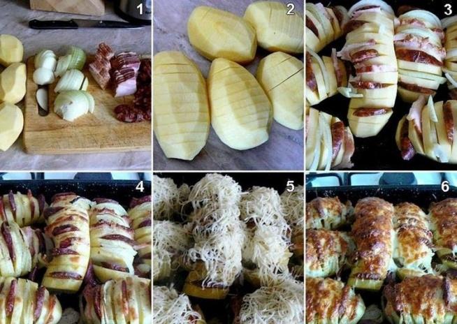 Składniki: - ziemniaki - cebula - plastry boczku - masło - ser żółty - przyprawy: sól, pieprz  Ziemniaki nacinamy ( nie do końca), następnie w powstałe nacięcia wkładamy boczek oraz cebulę. Ziemniaki nacieramy masłem. Całość posypujemy przyprawami i wkładamy do piekarnika. Pieczemy 50-60 minut w 200 stopniach. 10 minut przed końcem pieczenia całość posypujemy startym serem zółtym.