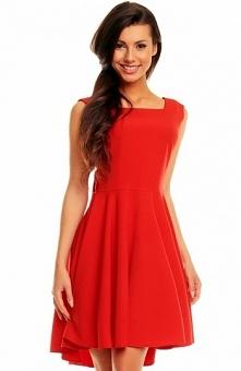 Kartes moda KM144 sukienka czerwona Kobieca sukienka, przepiękna propozycja n...