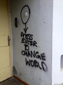 Press enter to change world - graffiti Wrocław