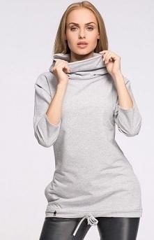 Makadamia M272 bluza szara Modna bluza damska, wykonana z miękkiej dzianiny, długi rękaw
