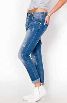 Panta jeansy jasne Modne jasne jeansy, fason typu baggy, lekko zwężane nogawki