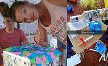 prezent na 18stkę, własnoręcznie robiony. pomysł mój i kuzynki. zwykłe pudełko ozdobione kolorowymi paskami bibuły i papierem prezentowym w księżniczki xd w środku 4 piwa postaw...